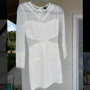windsor white lace and mesh dress